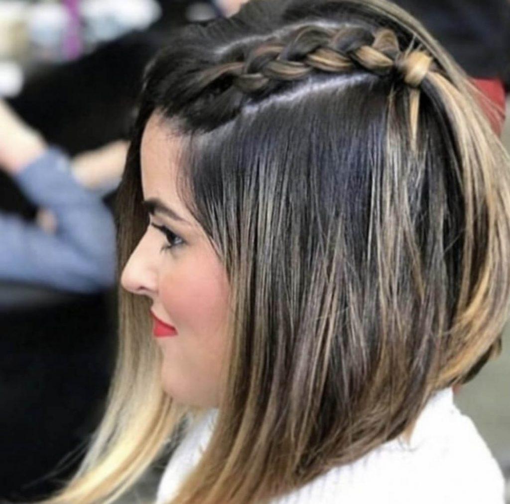 penteado cabelo curto com tranca alta embutida