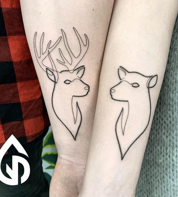casal tatuagem braco
