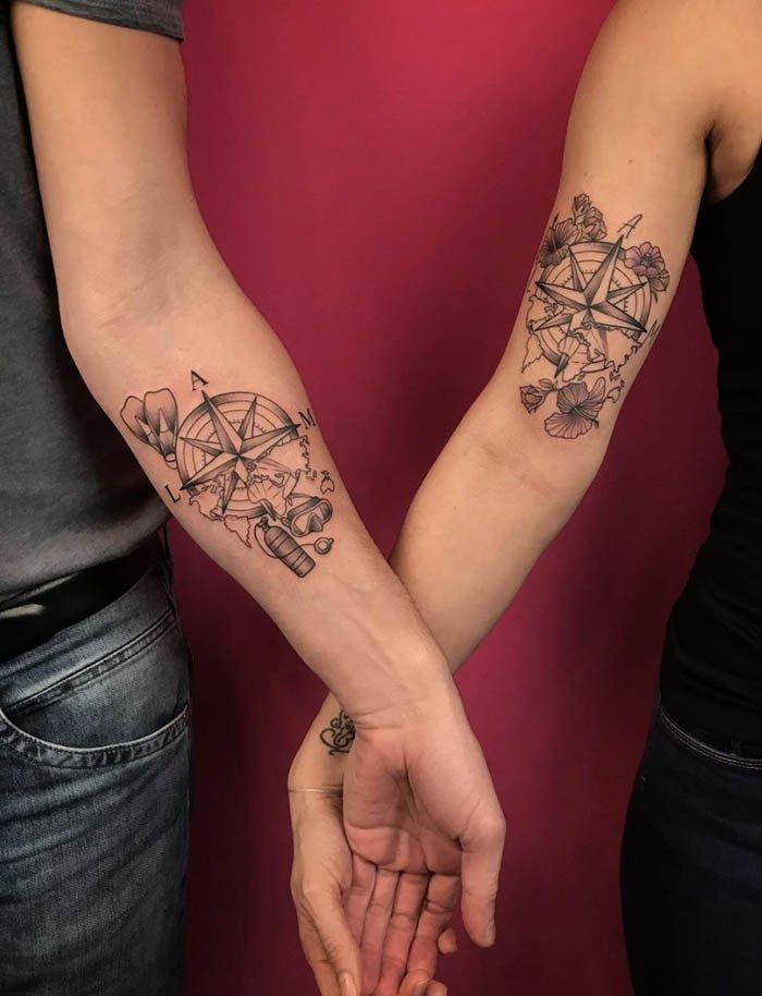 tatuagem casal no braco